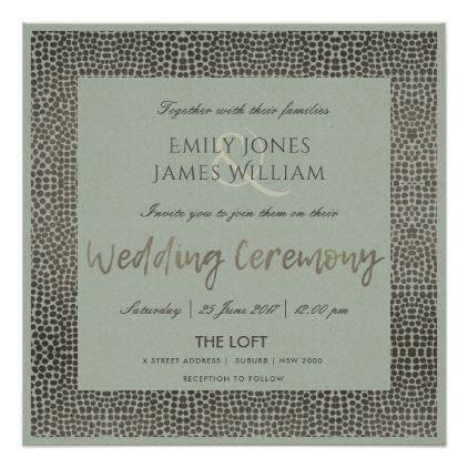 GLAMOROUS COPPER SILVER DOTS MOSAIC WEDDING CARD - wedding invitations diy cyo special idea personalize card