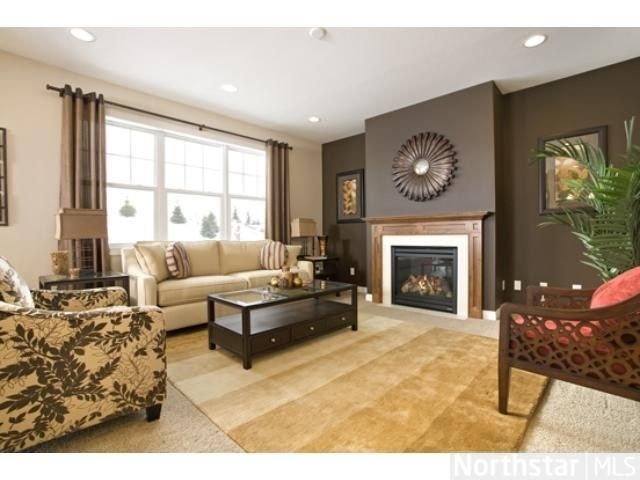 Living room idea accent wall curtains living room for What color curtains go with beige walls and dark furniture