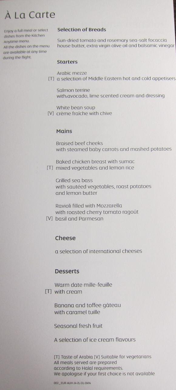 Image result for etihad business class menu