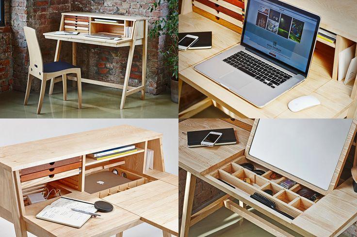 """Рабочий стол BELLE от sixay furniture. Потайные отделения позволяют использовать стол в качестве современного мультимедийного центра, предоставляя пространство для ноутбука, планшета и смартфона. В столе интегрирована система вентиляции и пространство для хранения проводов, а так же отделения для того чтобы """"спрятать"""" электронные аппараты.  В столе так же есть мини-отделение для хранение макияжа и зеркало!"""