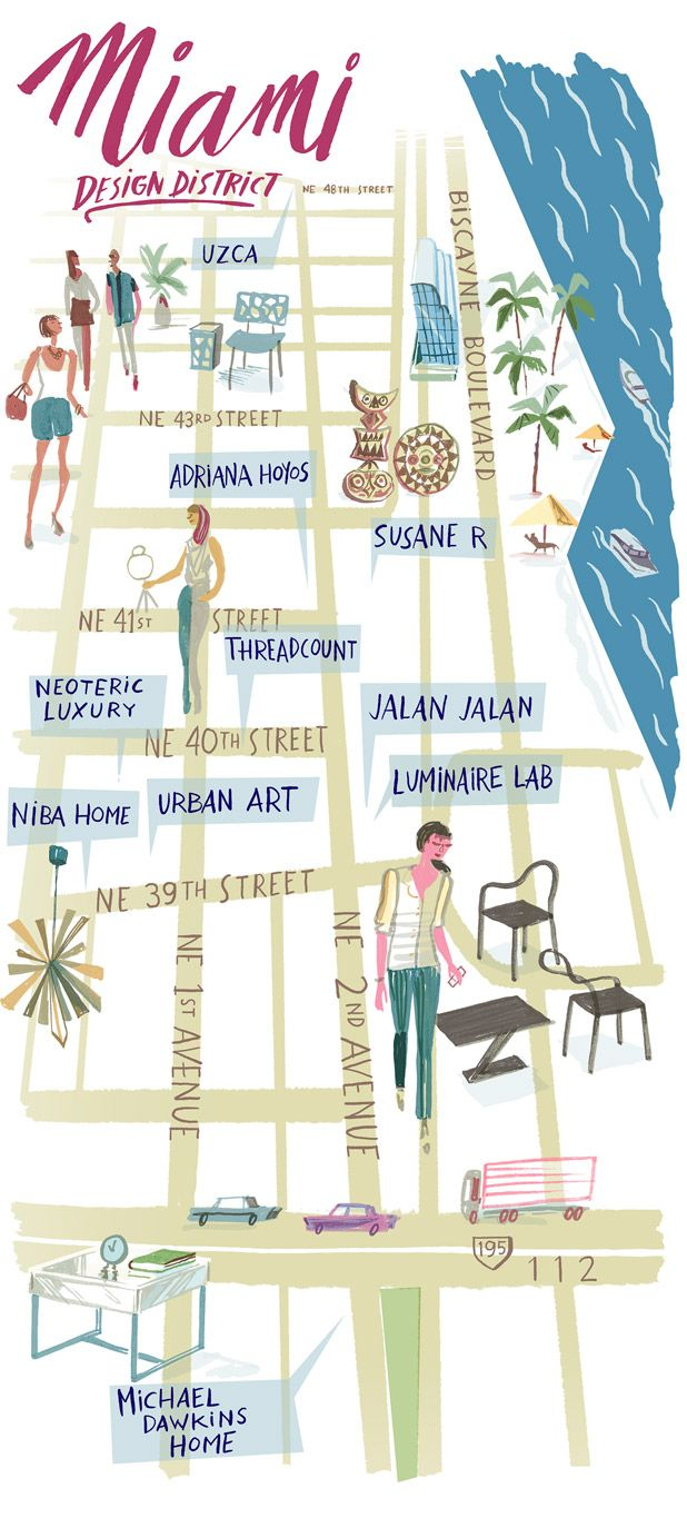 Miami South Beach ::In The Fashion| Serafini Amelia| Illustration Map-Miami Design District Shopping