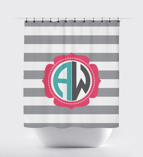 monogram shower curtain gray white striped by PrintArtShoppe
