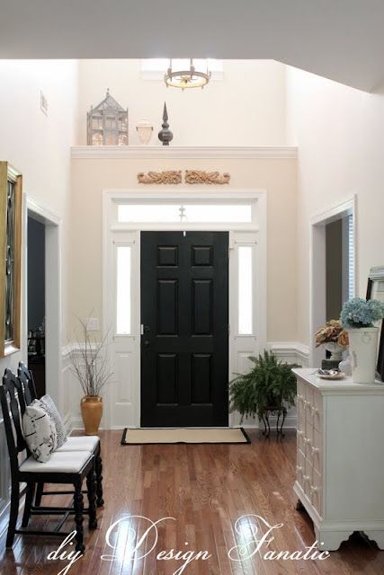 Newly Painted Foyer. Foyer IdeasBlack DoorsBlack Interior ...