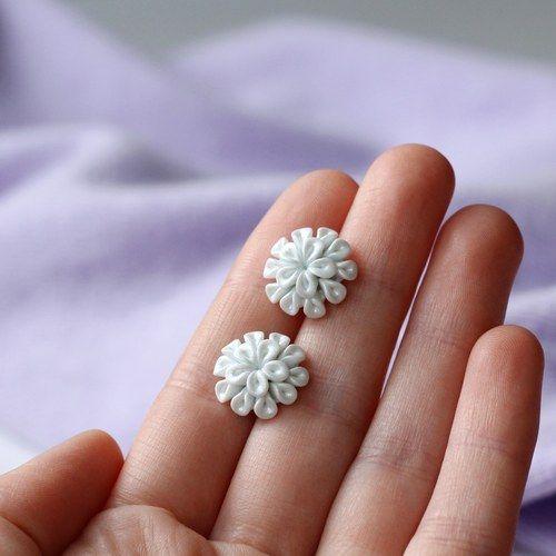 Mini kytičky - bílé perleťové