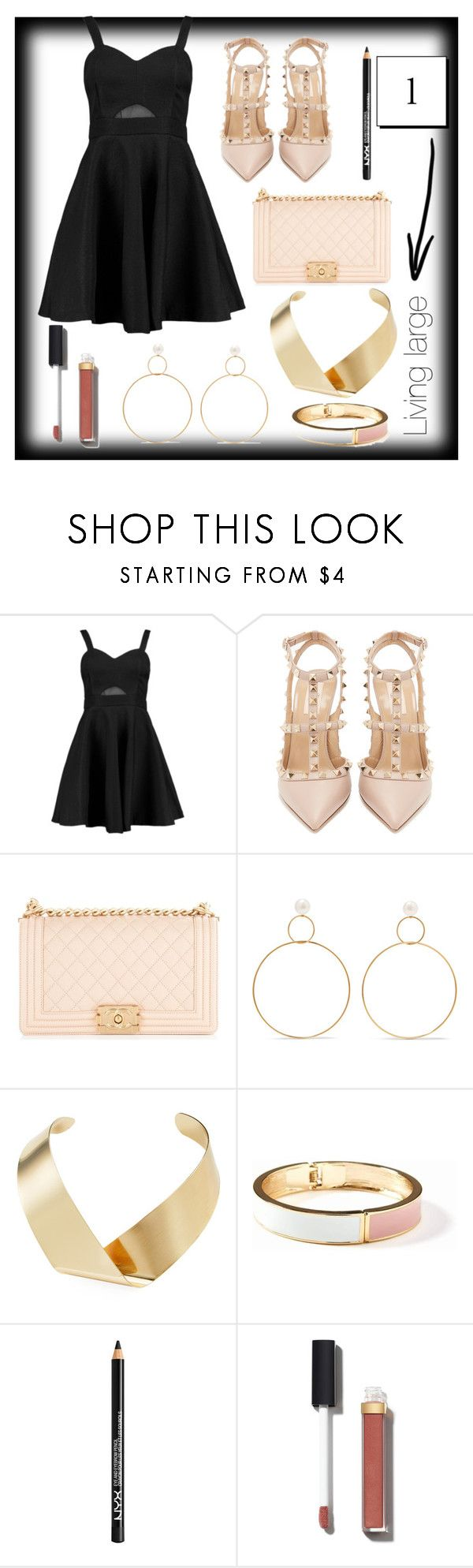 """""""Girl in the little black dress"""" by sassievanrobays ❤ liked on Polyvore featuring Boohoo, Valentino, Chanel, Natasha Schweitzer, Kenneth Jay Lane, Old Navy and NYX"""