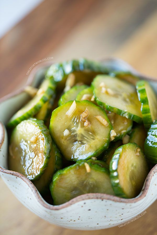 These chilled garlic soy cucumbers are a refreshing snack for any hot summer day! Make a batch to accompany your next summer meal!