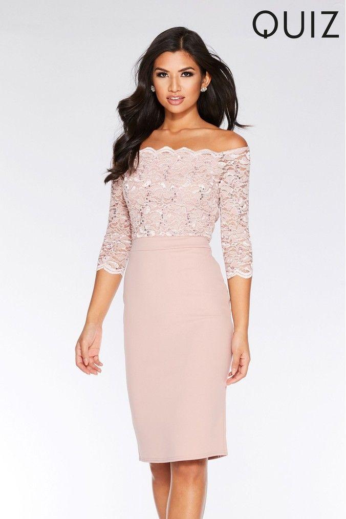 Womens Quiz Sequin Lace Scallop Midi Dress Pink Dresses Bridesmaid Dresses Uk Pink Midi Dress