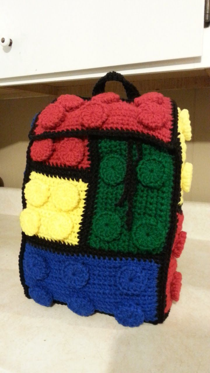 Crochet Lego Backpack Bag #Tutorial How to crochet a backpack
