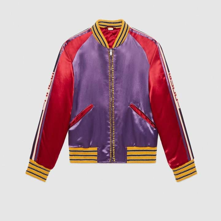 c863f9f1c Gucci Crystal embroidered acetate bomber #leatherjacketsformenred ...