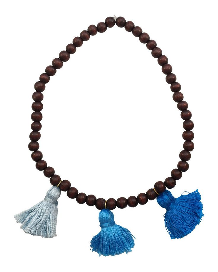 Boho Beads | Blue Beaded Tassel Necklace #loveandpieces