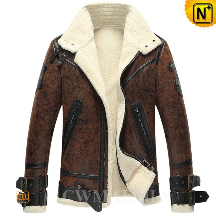 Vintage Sheepskin B-3 Bomber Jacket CW861275 Vintage sheepskin b 3 jacket for men crafted from brown sheepskin with shearling material, classics sheepskin bomber jacket designed in leather straps on collar, leather strap on hem, embr patch on arm, and zipper pockets. www.cwmalls.com PayPal Available (Price: $1457.89) Email:sales@cwmalls.com