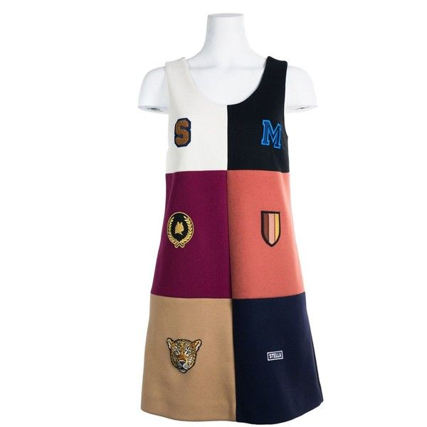 Stella Mccartney Womens Multi Wool Sleeveless Heraldic Dress (1.975.255 COP) ❤ liked on Polyvore featuring dresses, multiple colors, sleeveless dress, white embroidery dress, white embroidered dress, multi coloured dress and a line dress