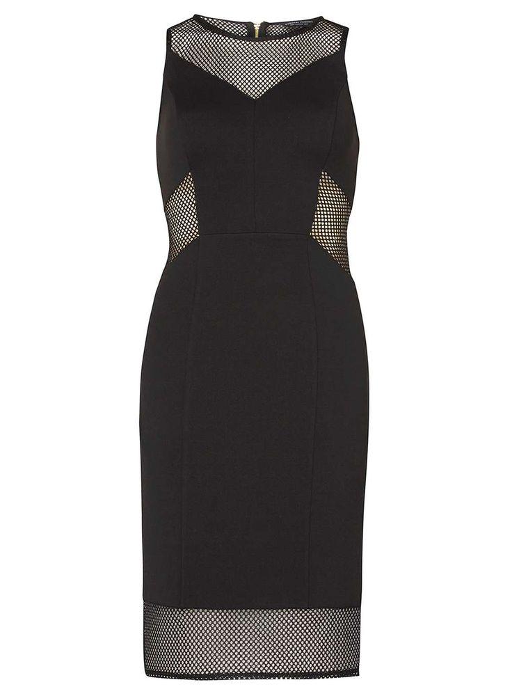 Black Mesh Panel Pencil Dress