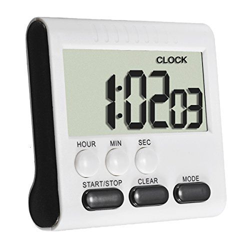 ELEGIANT Foldable Stand Magnetic Kitchen Large LCD Digital Timer Alarm Count Up Down Clock 24 Hours Black