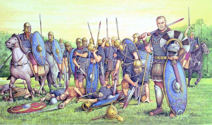 Солдаты смешанной когорты Cohors II Asturum equitata после боя (где-то в Британии), 48 год н.э. На переднем плане справа изображён центурион Виктор Юлий Лоракс.