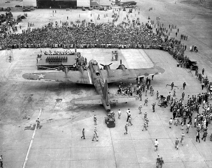 Memphis Belle at Peterson Field, Ohio on a US bond raising tour after becoming…