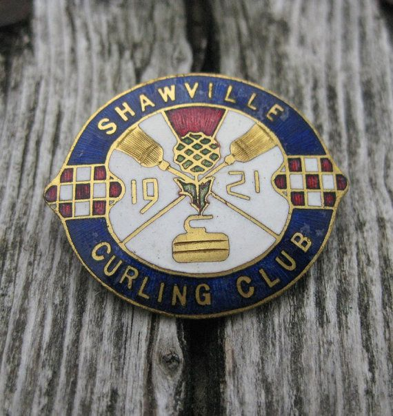 1921 enamel Shawville Curling club pin sports by LandofNodStudios