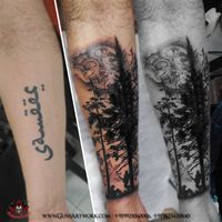 Cover-up of a 4.5 inch name tattoo with Pine tree and scenery background, look close in tattoo might find something interesting hidden in it, custom made, about 4 to 5 working hours for this one,.. #tattoo #tattoos #tattooart #tattooartist #tattooartistmagazine #tattooideas #coveruptattoo #coverup #btattooing #worldfamousink #art_spotlight #art_empire #pinetree #pinetreetattoo #scenery #scenerytattoo #pune #punediaries #puneinstagrammers #blackandgreytattoo #forearmtattoo #tattoosinpune