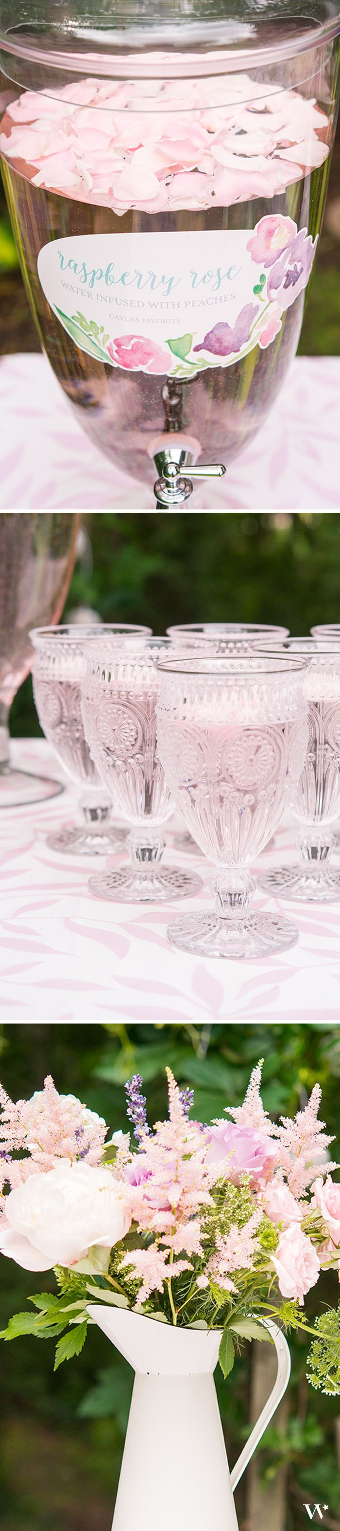 Serve guests their drinks in style with this decorative Apothecary style dispenser and vintage inspired pressed glass goblets in blush pink. Perfect for a Garden Party. Dress up your drink station with this enamel pitcher filled with beautiful flowers.