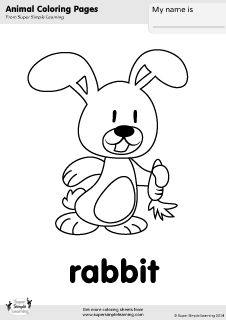 Free Rabbit Coloring Page From Super Simple Learning Tons Of Animal Worksheets And Flashcards