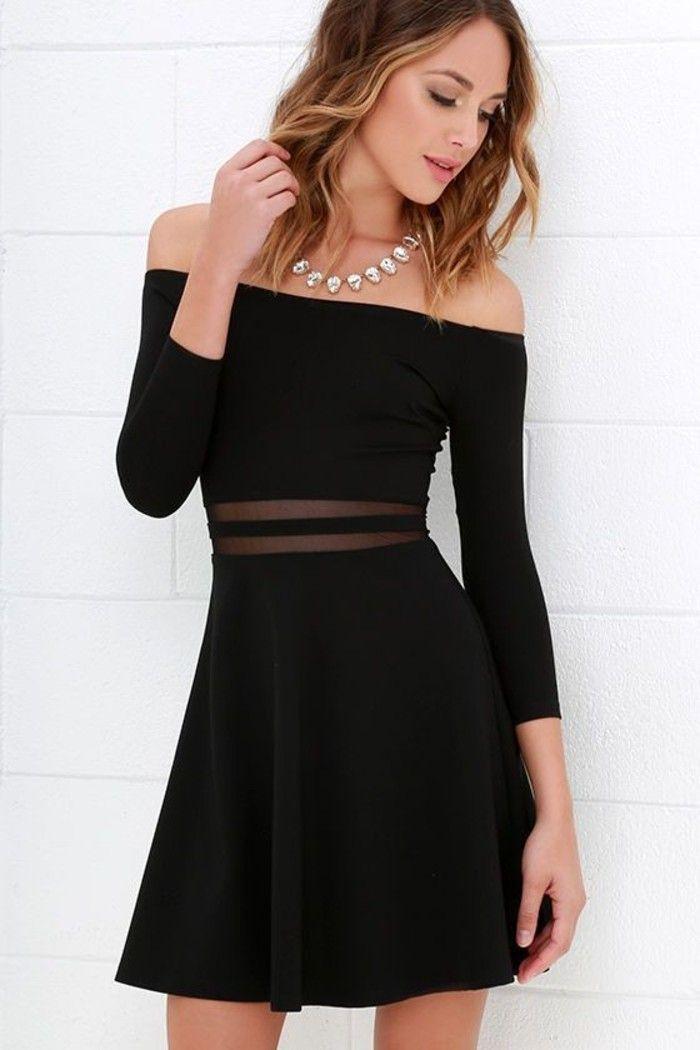 vestidos-coctel-negro-corto-mangas-largas