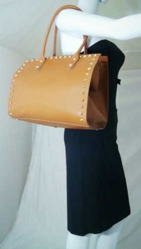 Alberta Di Canio Leather Studded Tote Camel Brown Satchel Purse Italy MSRP $300