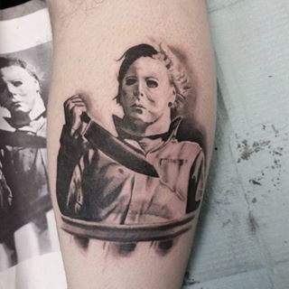 Put in some work on this Michael Myers tattoo