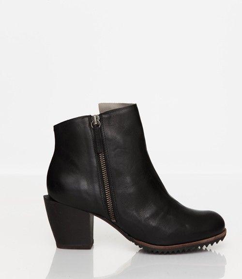 Skin by FINSK AW13: 465-02 BLACK leather asymmetric zip ankle boot from Skin By FINSK