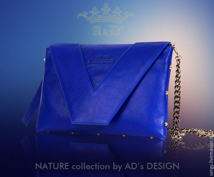 Купить Клатч Blue Letter Black Silver - синий, клатч, клатч из кожи