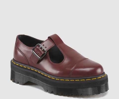Dr. Martens Cherry Red BETHAN Shoes with stacked soles. Available as part of our Winter SALE.