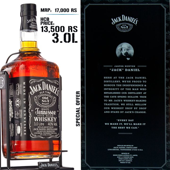 HOPS CORK EN' BOTTLE - ONLINE LIQUOR BOUTIQUE JACK DANIELS 3.0L * MRP =Rs. 17,000/- * HCB PRICE=Rs. 13,500/- SAVE RUPEES. 3,500/-   To ORDER from our ONLINE STORE: http://www.hopscorkenbottle.com/jack-daniels-3-litres.html OR CALL: 88797 00001 / 88797 00002 to avail special rates on bulk orders