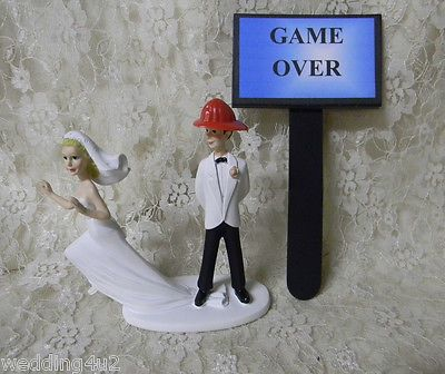 Wedding Cakes Toppers: Wedding Party ~Game Over Sign~ Fireman Firefighter ~Runaway Bride~ Cake Topper -> BUY IT NOW ONLY: $35.14 on eBay!