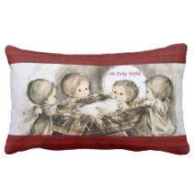 "Custom Christmas Manger Pillow, 13"" x 21"" Lumbar Pillow"