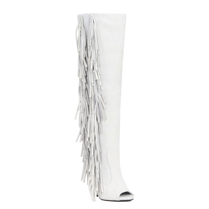 Amp up your look with these bold and high-fashion Giuseppe Zanotti White Boot. These Giuseppe Zanotti Boot feature a 5 inch heel and open toe and fringes. Material: Suede Shoe Width: Medium Size: 7, 9