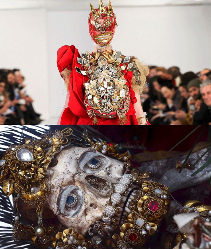 Maison Margiela artisanal dress by John Galliano and skeleton relic decorated with gems and gold