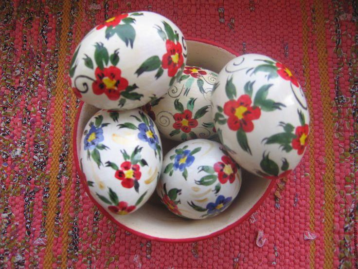 """Купить Пасхальные яйца """"Цветы"""" - ярко-красный, яйцо пасхальное, яйцо расписное, яйцо деревянное"""