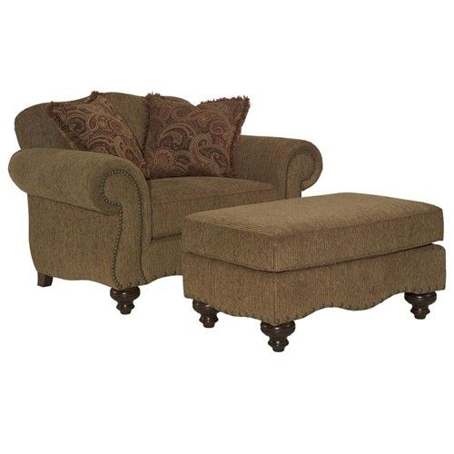 Austin Chair And A Half U0026 Ottoman With Nailhead Trim And Bun Feet By  Broyhill Furniture
