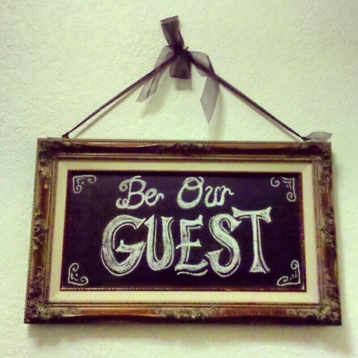 guest room sign. Bought this frame for $2 at a garage sale. Painted with chalkboard paint!