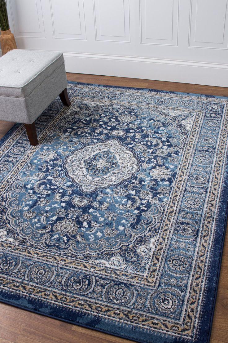 Transitional Rug Blue & Ivory High Quality Carpet Nylon