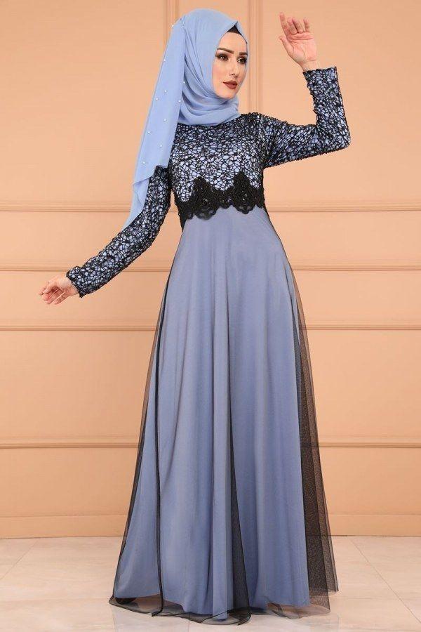 Modaselvim Abiye Gupurlu Tul Etek Abiye Ech7224 S Bebe Mavisi Abaya Tarzi Musluman Elbisesi Elbiseler