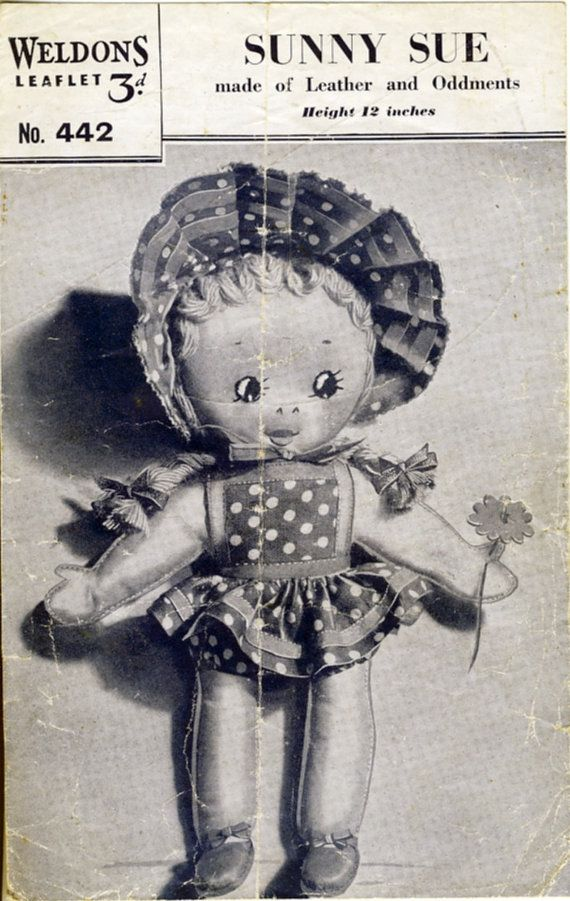 Weldons 442  Sunny Sue  1940's Toy Doll by PatternaliaVintage. This is a photocopy of the original in my collection.