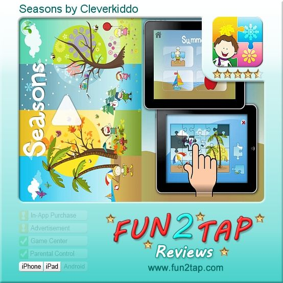 Seasons by Cleverkiddo - Learning the Seasons in Style. Full review at: http://fun2tap.com/index.cfm#id2409 --------------------------------------------- #apps #iosApps #iPad #iPhone #games
