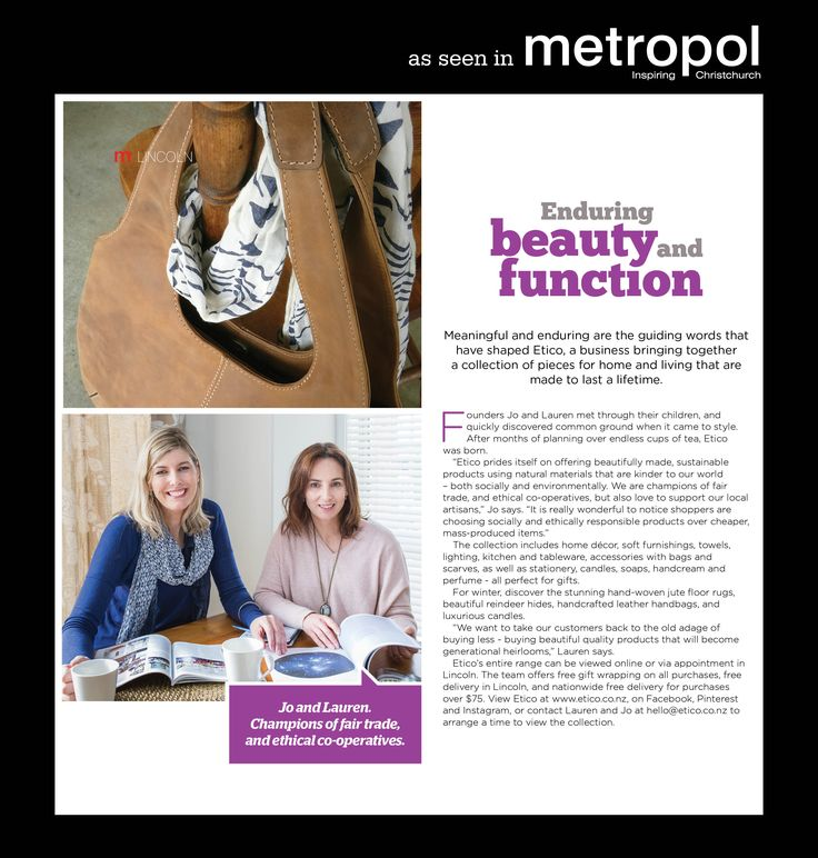 Check out the lastest issue of Metropol magazine for an editorial on Etico and what we are about.