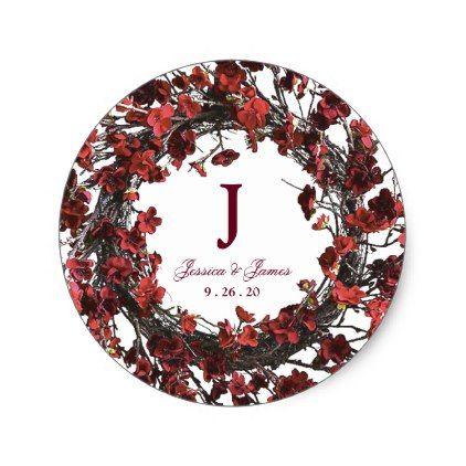 Burgundy Red Floral Wreath Monogram Wedding Classic Round Sticker - wedding shower gifts party ideas diy cyo personalize