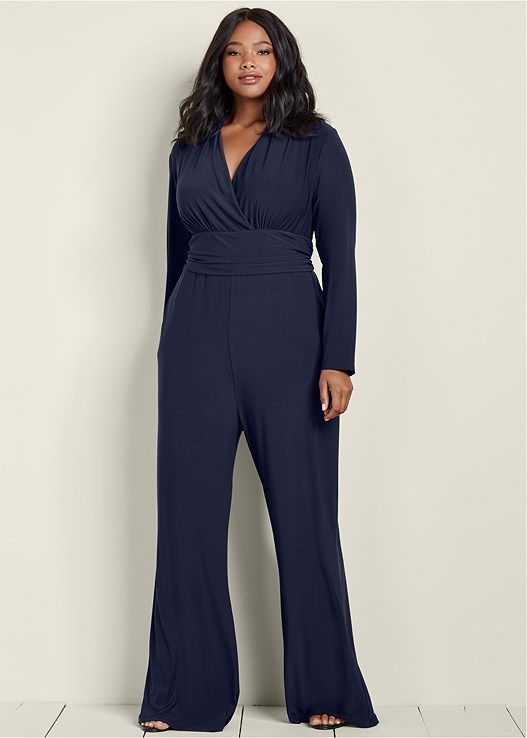 b14b4a9a68c84 Venus Women s Plus Size Waist Detail Jumpsuit Jumpsuits   Rompers - Blue