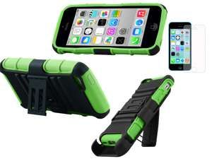 GREEN EXTREME RUGGED IMPACT ARMOR HYBRID HARD COVER BELT CLIP HOLSTER DUAL LAYER CASES for iPhone C 5C 5 C w/ FREE Screen ...