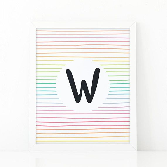 Letter W Initial wall art Colorful  Stripes initial #Nursery #nurseryprints #nurserydecor #etsy #shooshprints #nurserywallart #nurseryprint #digitalprint #wallart #nurserydecor #kids #kidsdecor #etsyseller #etsyshop #decoration #printable #printdesign #printableart #printableart #girlsroomdecor #kidsroomdecor #boysroomdecor #print