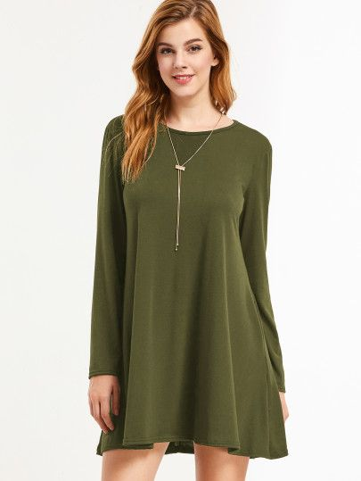 Army Green Long Sleeve Tee Dress