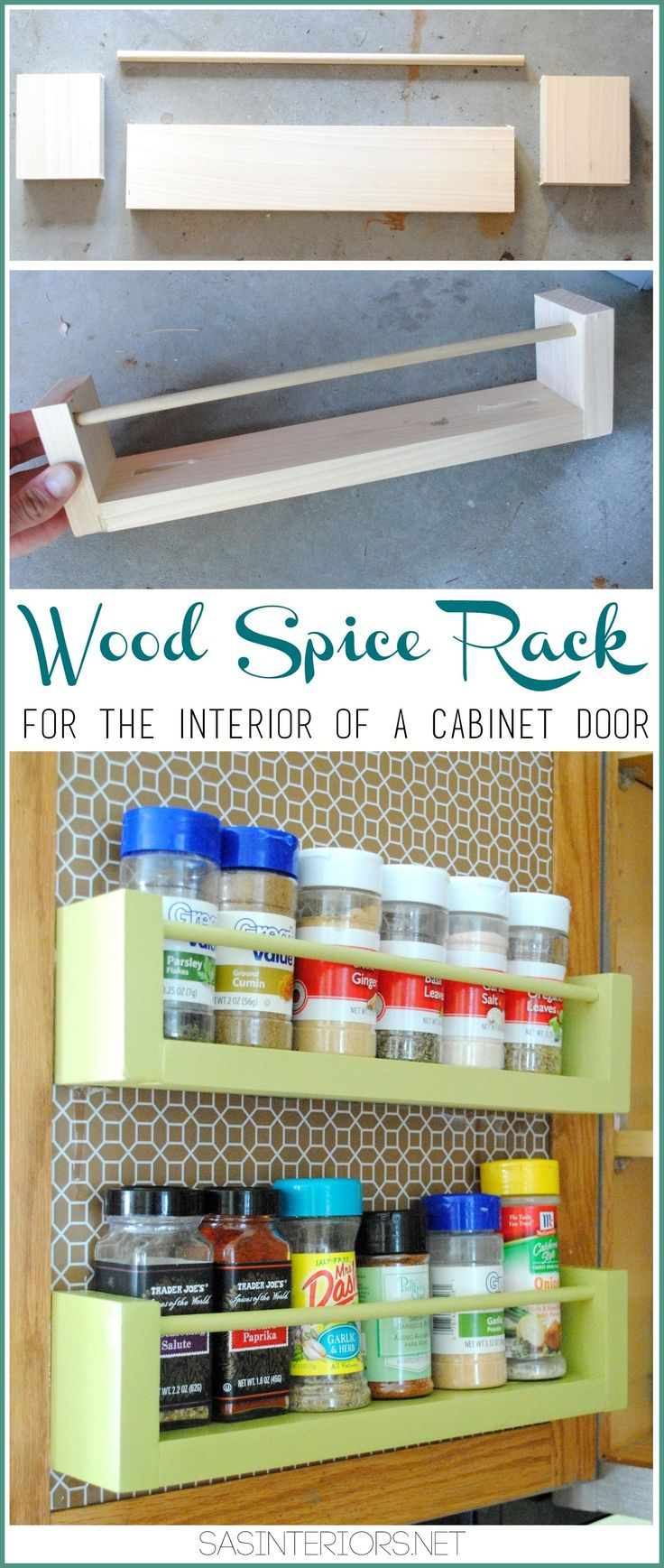 FREE plans and tutorial! Learn how to build a wooden spike rack! Easily attachable to the inside of any cabinet door!