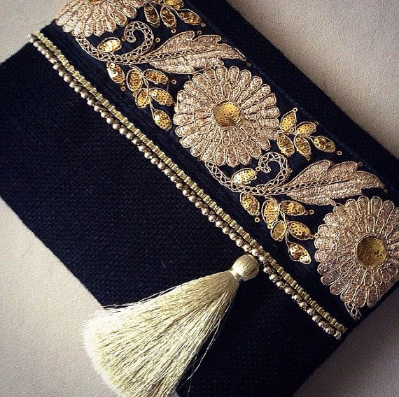 Black Ethnic Clutch Black Jute Handmade Handbag by BOHOCHICBYDAMLA